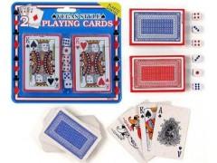 Karty do gry 2 talie z kostkami