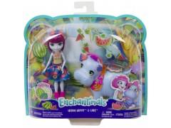 Barbie Enchantimals lalka+duże zwierze hipo***
